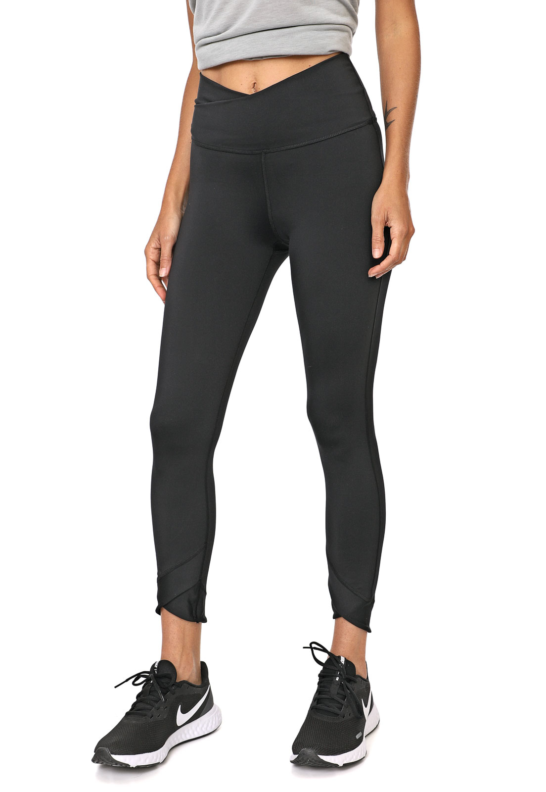 nike legging yoga wrap tight preta - Top Sport Duplo Cinza